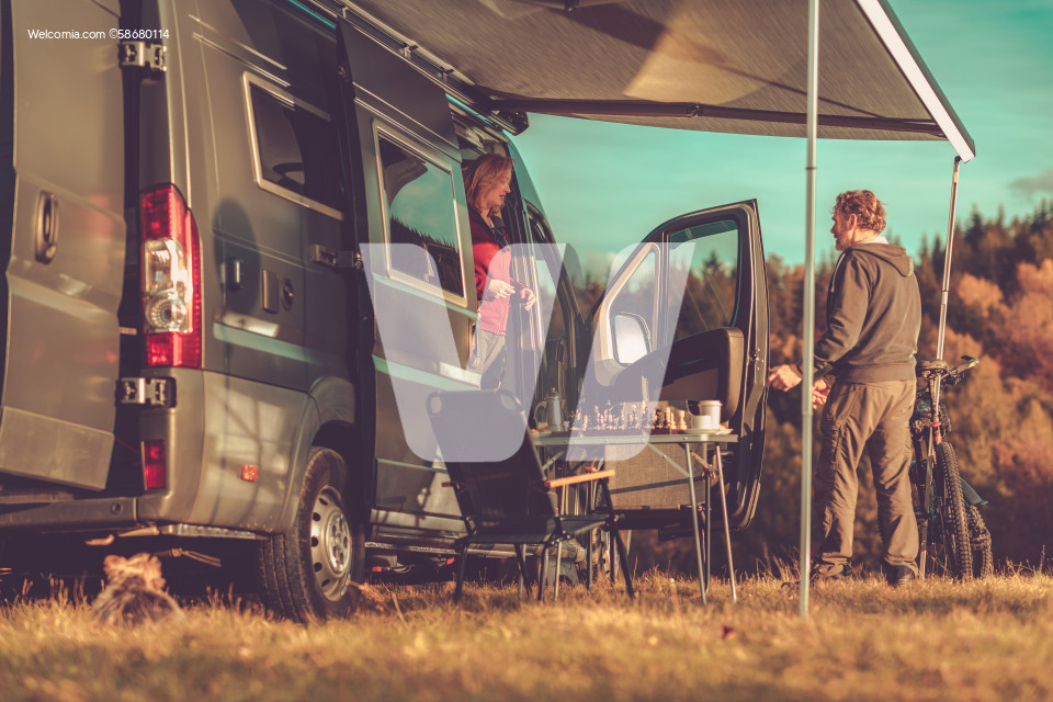 Camper Van RV Boondocking in Remote Place