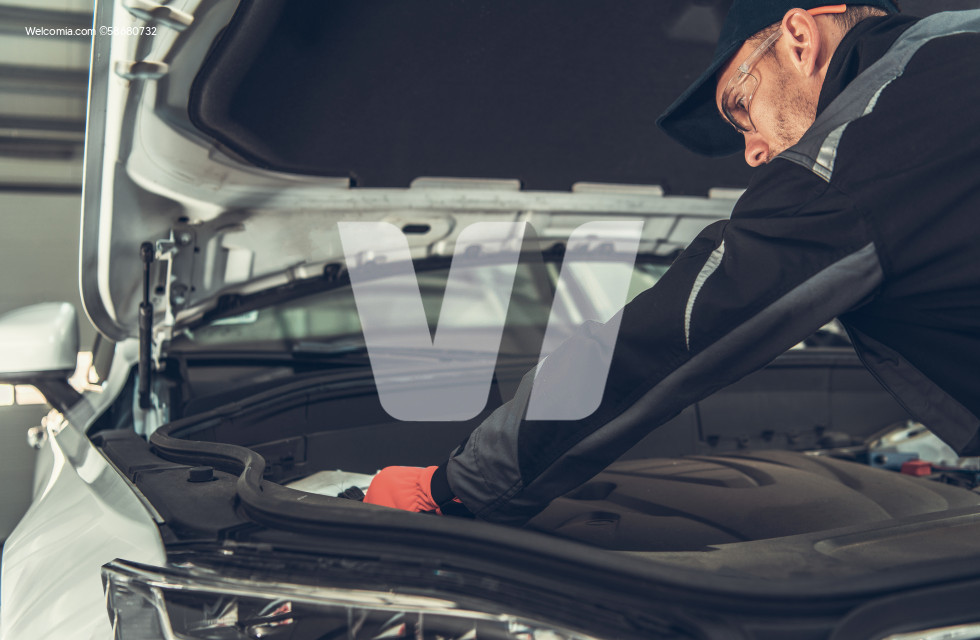 Car Mechanic Checking Engine Compartment