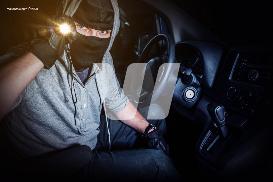 Car Thief with Flashllght