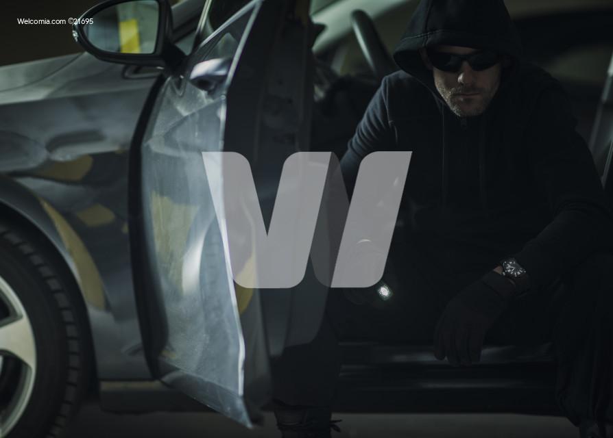 Caucasian Burglar in a Hood