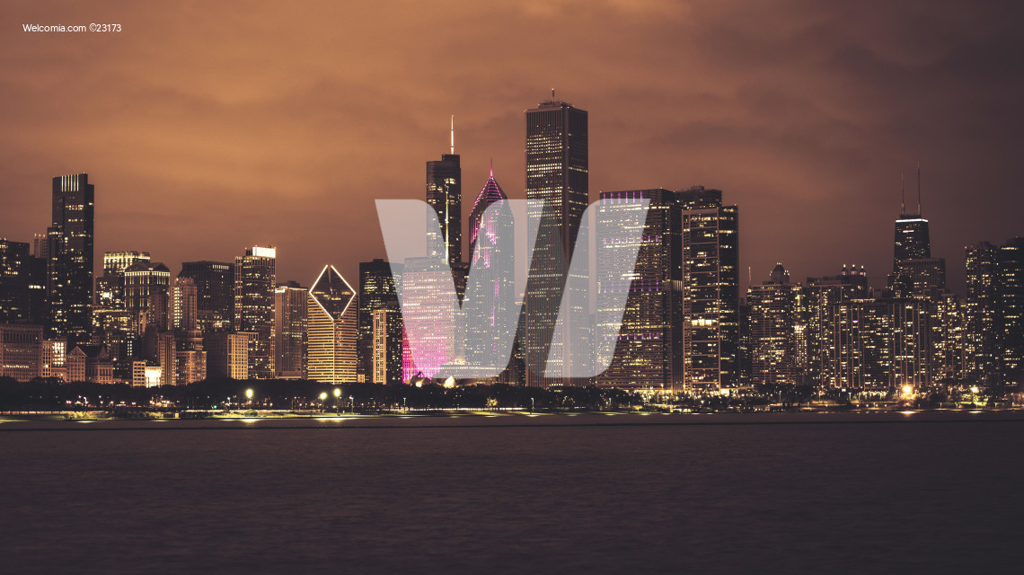 Chicago Illinois Night Skyline
