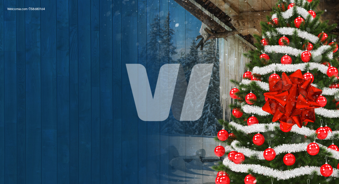 Christmas Season Greetings Banner with Copy Space