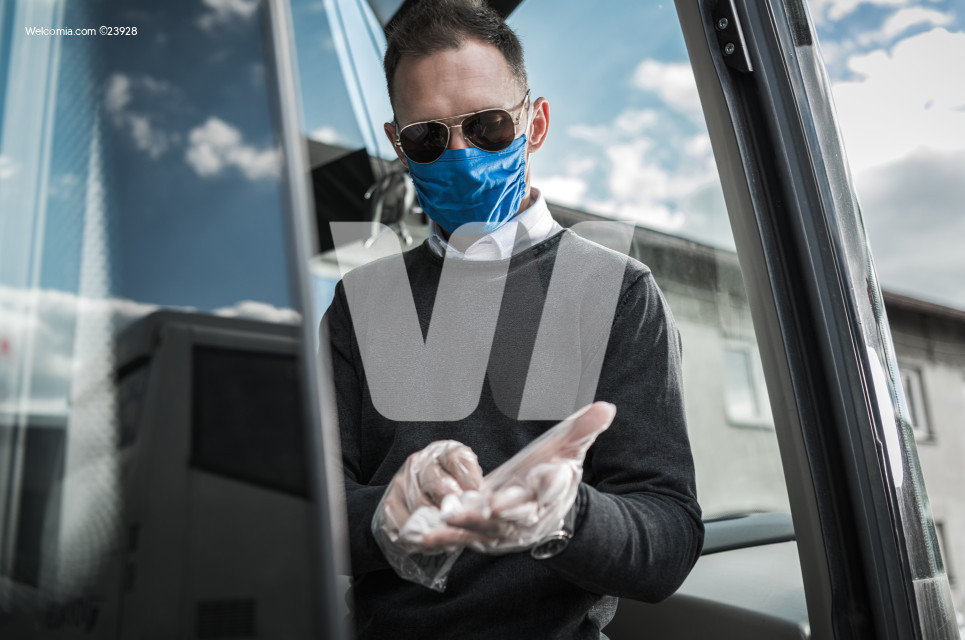 Coach Bus Driver Getting Ready For Work Amid Epidemic Outbreak.