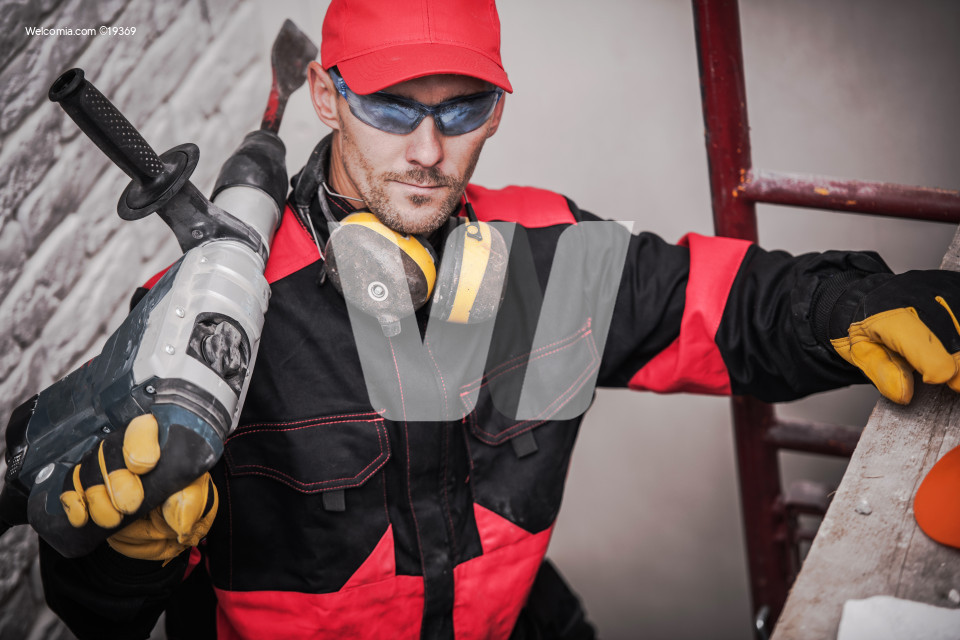 Construction Worker with Tool