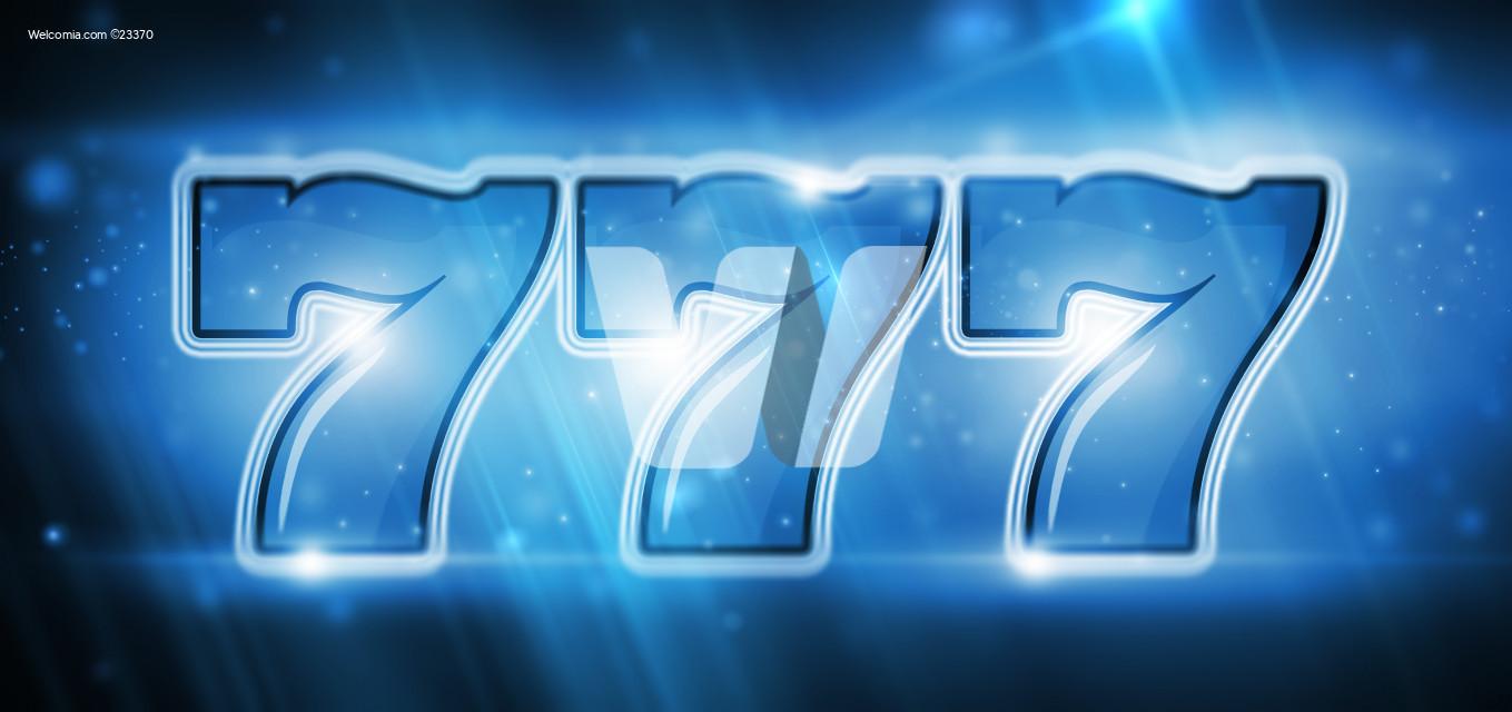 Cool Blue Triple Seven Lucky Slot Machine Illustration
