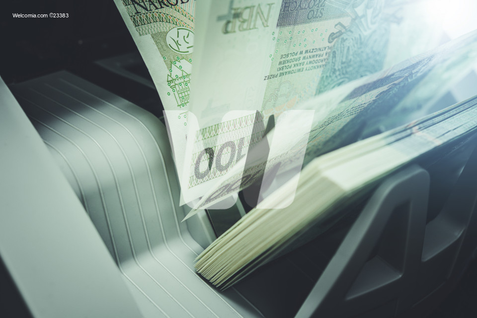 Counting Polish Zloty Cash Money in a Banknote Counter