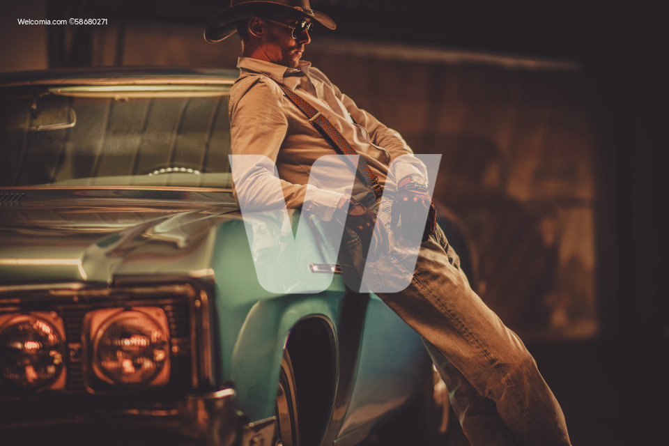 Cowboy and His Classic Vintage Car