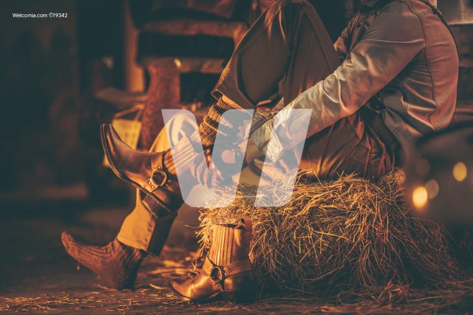 Cowboy in the Barn