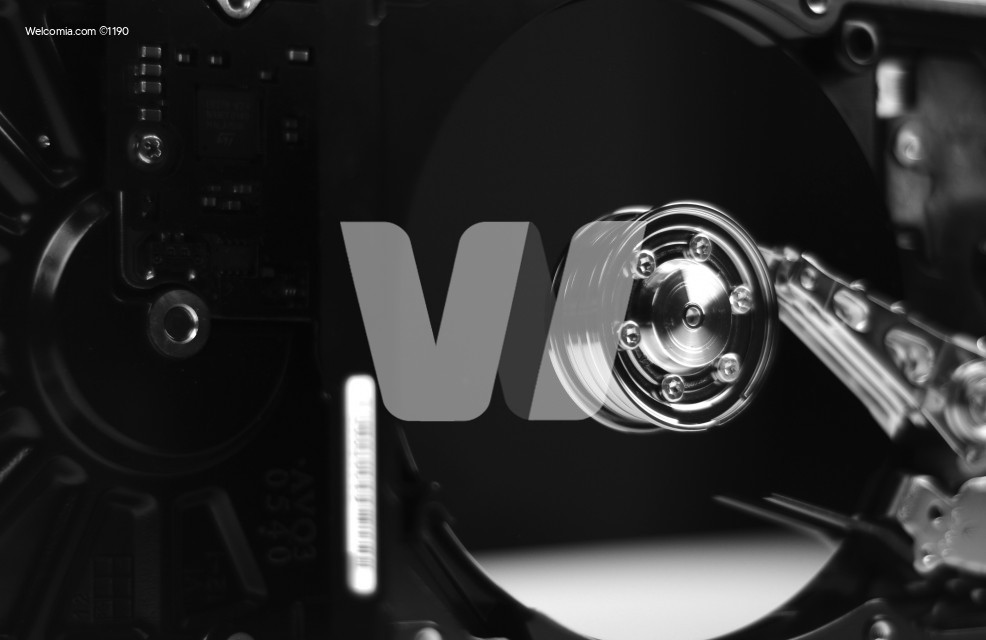 Hard Drive Disc in the Dark. Hackers Theme.
