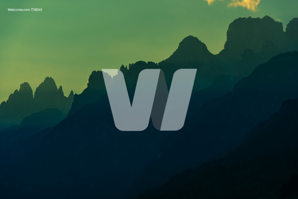 Dolomites Mountains Silhouette