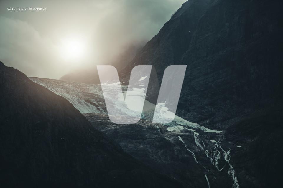 Dramatic Landscape of Alpine Glacier