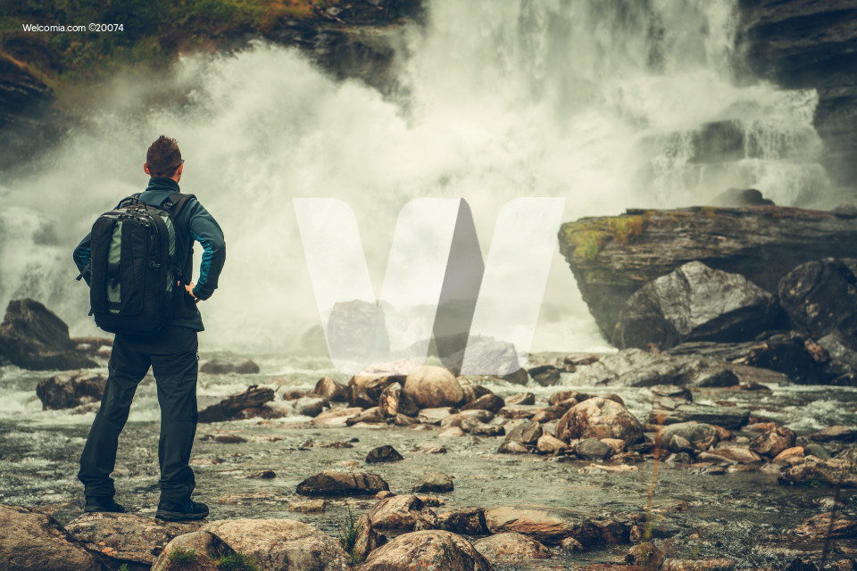 Exploring Scenic Waterfall