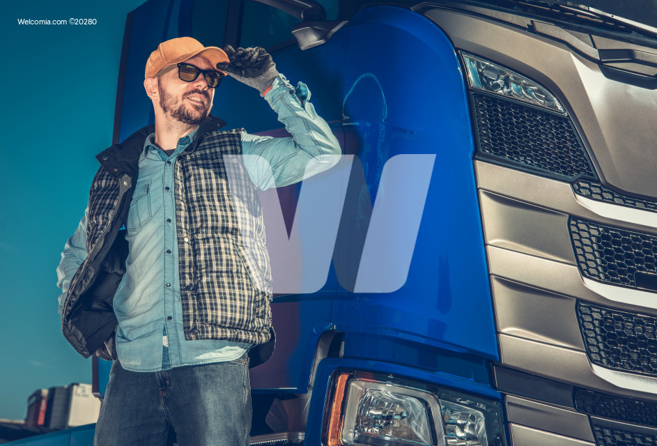 Happy Caucasian Trucker