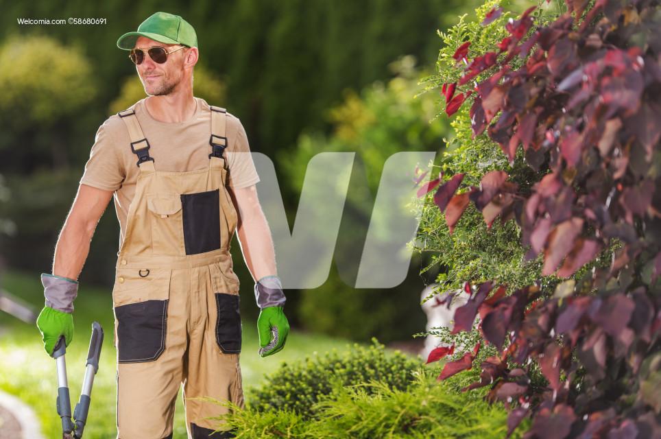 Happy Professional Gardener with Scissors in His Hands