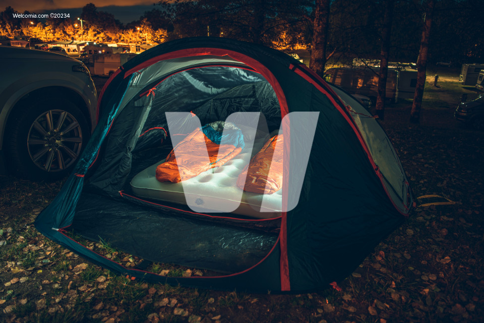 Illuminated Tent on Campsite
