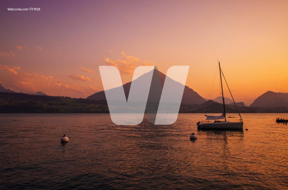 Interlaken Lake Sunset Scenery