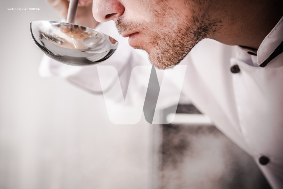 Kitchen Chef Smelling Soup