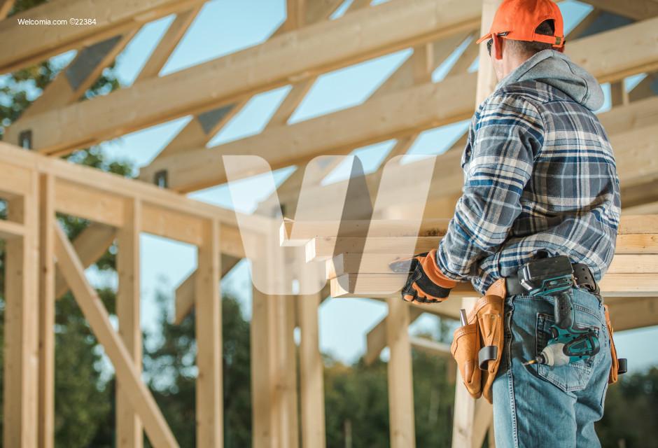Men Building Wood House