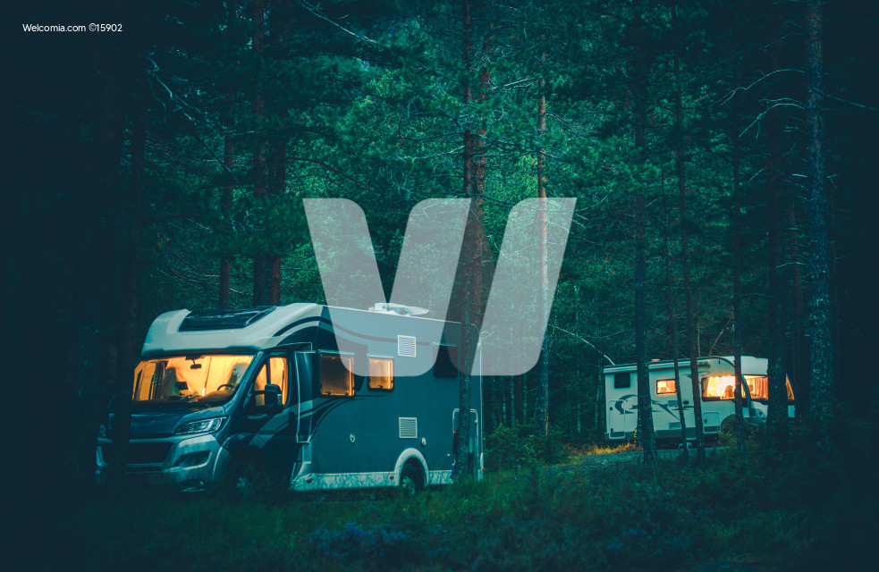 Motorhome Camping in a Wild