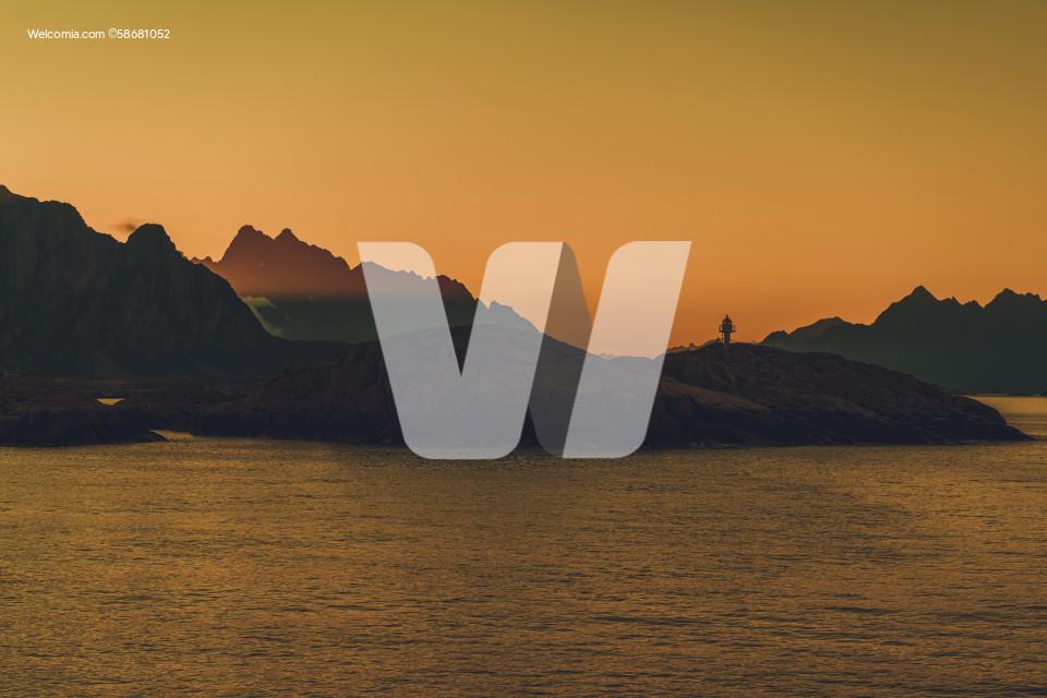 Norwegian Nordland County Lofoten Region Midnight Sunrise in the Lighthouse Bay