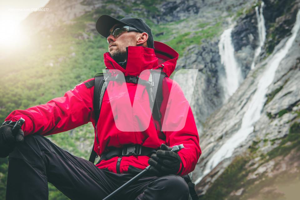 Outdoor Active Caucasian Hiker