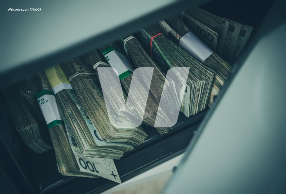 Pile of Polish Zloty in Safe Box
