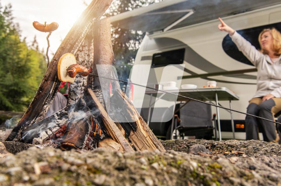 RV Camper Camping Pitch Campfire