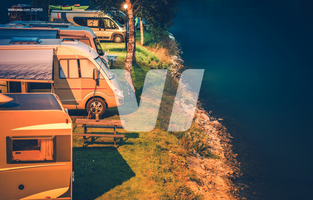 RV Park Camping at Night