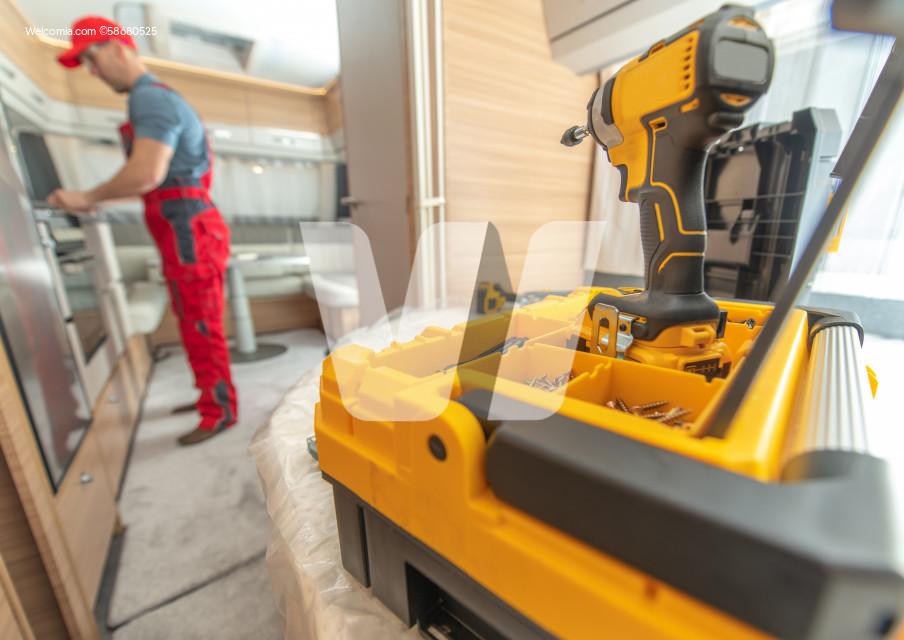 RV Travel Trailer Warranty Service Worker Preparing For His Work