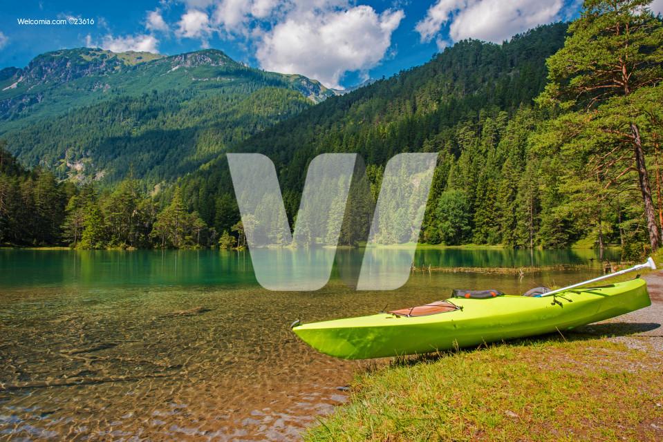 Scenic Bavarian Lake Kayaking During Summer Season