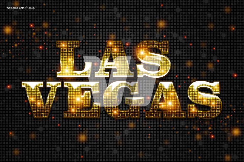 Shiny Golden Las Vegas Sign