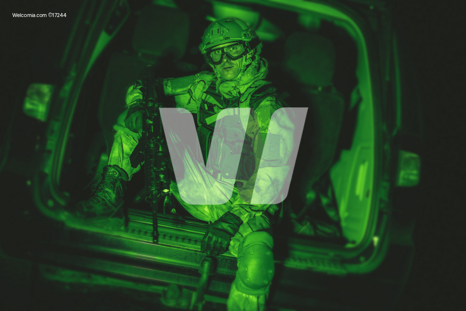 Soldier in Van Night Vision