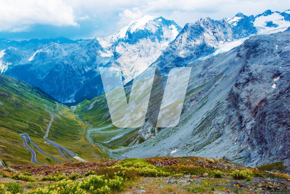Stelvio Pass in Italian Alps
