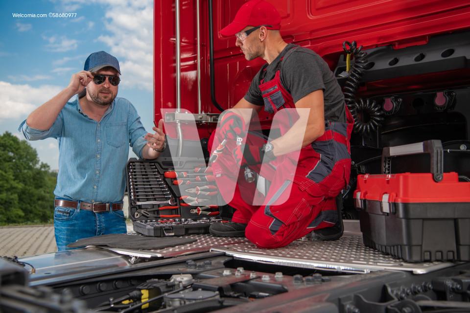 Trucker and Professional Truck Mechanic