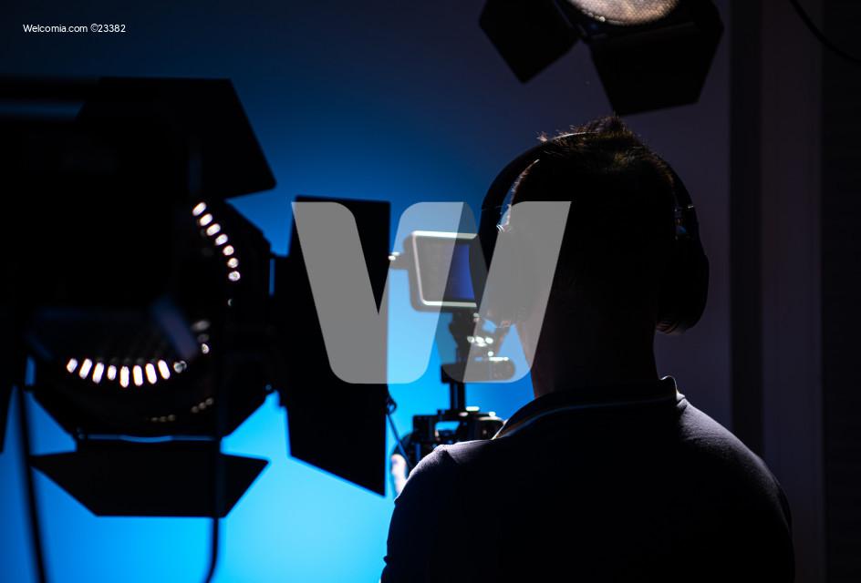 Video Production Studio Equipment and Camera Operator