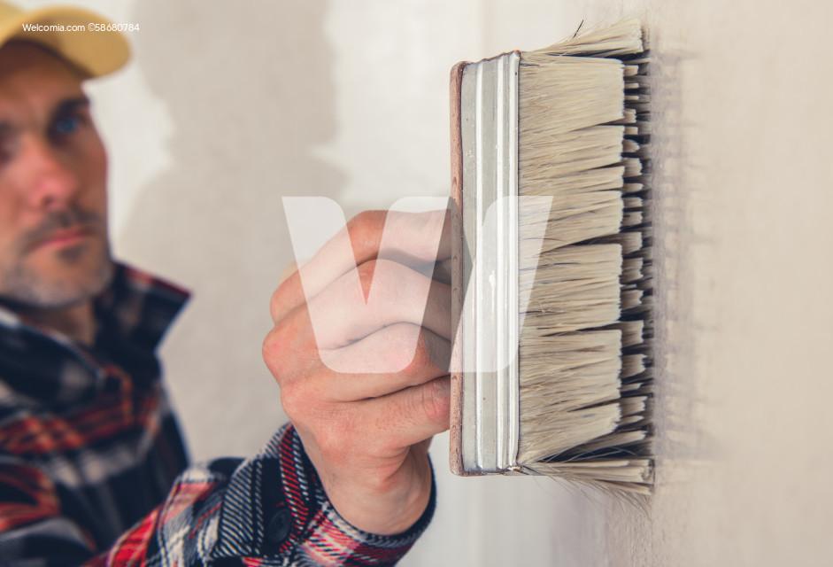 Walls Priming Using Large Painting Brush