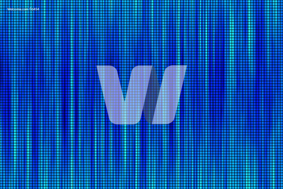 Wavy Blue Dots Abstract Background. Vertical Lines