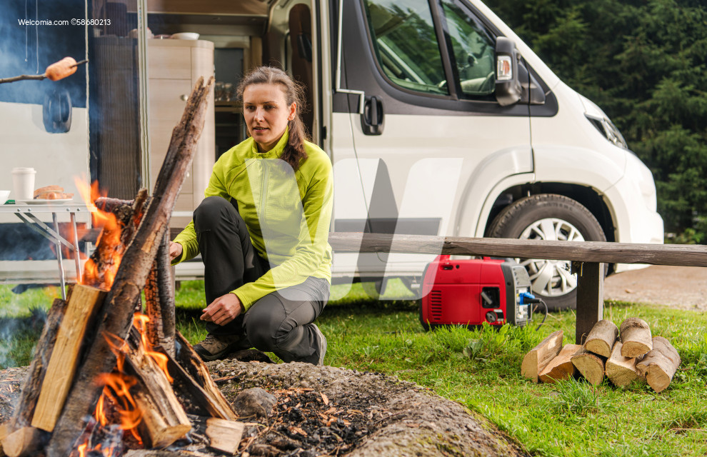 Woman in Her 30s with RV Camper Van Camping Alone