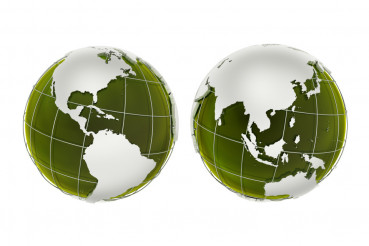 3D Green Globes Illustration
