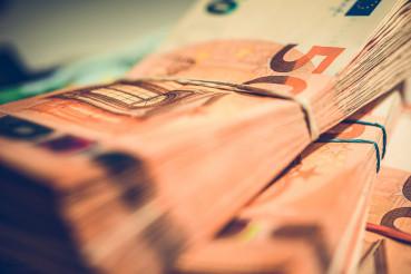 Stack of Euro Bills Cash