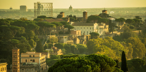 Cityscape Of Rome With Mixture Of Ancient And Urban Architecture.