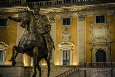 Emperor Marcus Aurelius Bronze Statue In Rome