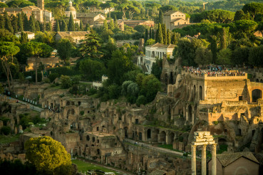 View Of Roman Colosseum And Surrounding Historical Buildings.
