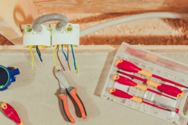Electrical Tools On Workbench Close Up.
