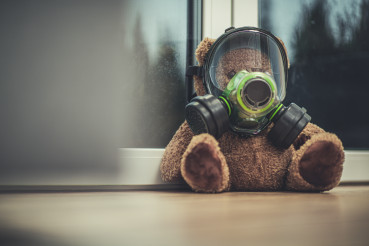 Teddy Bear In Gas Mask Placed By Window.