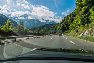 Car Driver View Of Highway And Mountains In Chamonix France