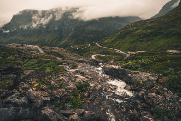 Norwegian Highway On Top Of Mountain Peak.