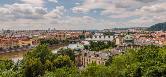 European City Of Prague In Panoramic View.