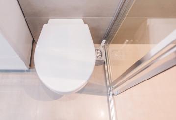 White Toilet In Glass Enclosure.