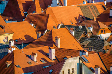 Close Up Of Red Rooftops Of Historic Town Buildings.